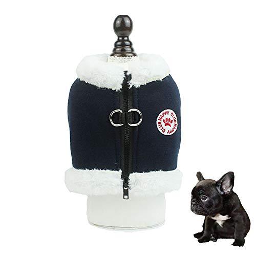 Yhjmdp Hundegeschirre,Warm Einstellbar Reflektierend Sicherheit Zum Kleine mittlere Hunde Weste Brustgeschirre Brustgurt Haustierzubehör für den Winter,Navy,S