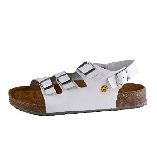 Wellness Komfort+ Herren Tieffußbett Gastro Pflege Sandalen ESD, Größe:43; Farbe:Weiß
