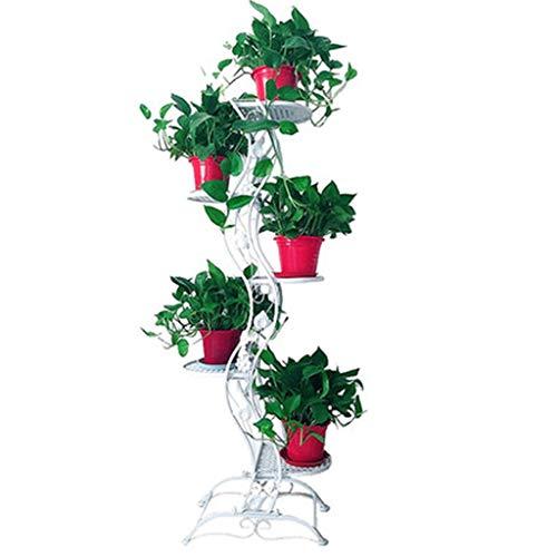 ZAQI Blumenständer pflanzentreppe blumentreppe Pflanzenständer Indoor Metall - Schwarz/Gold/Weiß 5-stufiger freistehender Ausstellungsständer für Blumentöpfe, 45 × 27 × 140 cm blumenregal