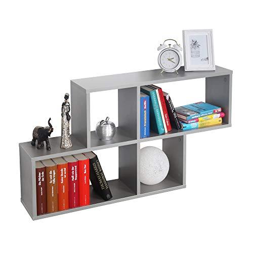 RICOO WM051-PL Estantería Pared 100x53x20cm Estante Colgante Mueble almacenaje Flotante Muebles hogar Almacenamiento Libros Madera Gris