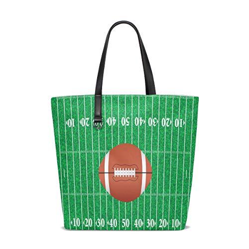 BKEOY Große Damen Handtasche Schultertasche American Football Field Print Tote Reißverschluss Shopper Organizer Taschen