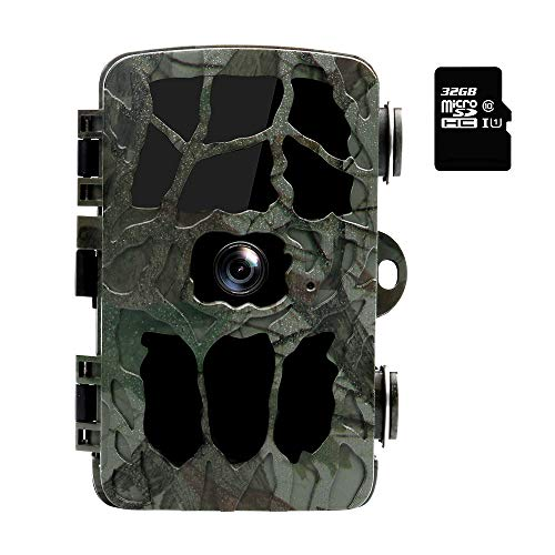 Wimaha Jagdkamera Wildkamera mit Bewegungsmelder Nachtsicht und Speicherkarte Full HD 44 IR LEDs Infrarot 25m Überwachungskamera IP66 Wasserdicht für Wild Lebende Tiere mit 32G Speicherkarte
