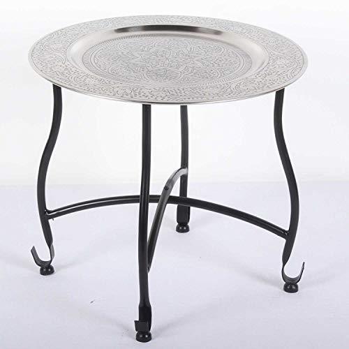 Casa Moro Orientalischer Teetisch Safi D40 | Beistelltisch mit Silbertablett & klappbarem Gestell in schwarz | Handmade Gartentisch Camping-Tisch | Kunsthandwerk aus Marrakesch | TA7068