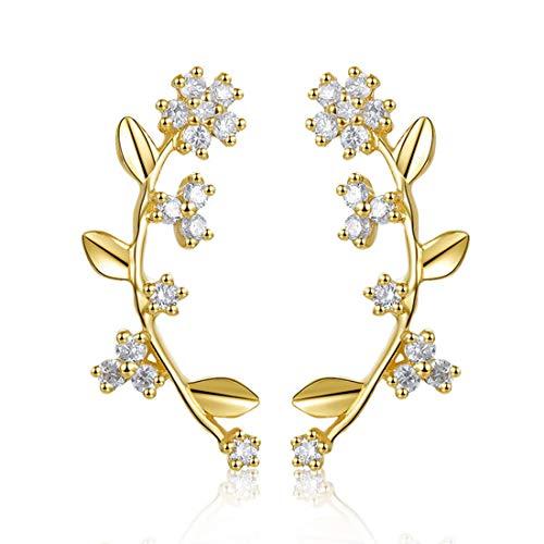 Pendientes Flores Bloom para Mujer en Oro Amarillo 14 k (585) con 0.08 cttw Natural Diamante Genuino Pendientes Joyas para Mujeres Niñas - Dimensión: 13 * 4 mm