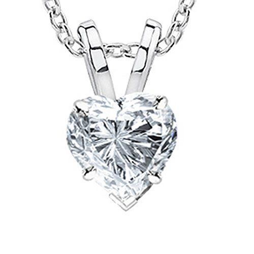 3 Carat 18K White Gold GIA Certified Heart Cut Diamond Pendant Necklace Premium Collection (G-H Color, SI1-SI2 Clarity) 3.0 ct 20 in gold chain