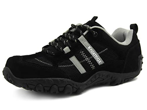 Zapatillas Trekking para Mujer, Zapatos de Senderismo Calzado Trekking Escalada Ligeros Cómodos y Transpirables Outdoor Zapatos Low-Top Antideslizante Zapatos de Deporte (Rojo, Negro, Gris)