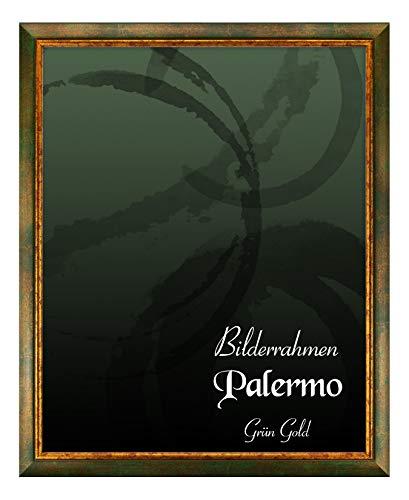 BIRAPA Bilderrahmen Palermo 50x70 cm in Grün Gold aus Massivholz mit Antireflex-Kunstglas
