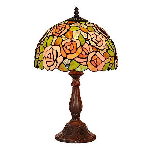 CRYGD Tiffany Art-tafellamp, handgemaakte kunst roos glasverf barok lampshade antieke legering basis voor woonkamer slaapkamer salontafel naast leeslicht, E27