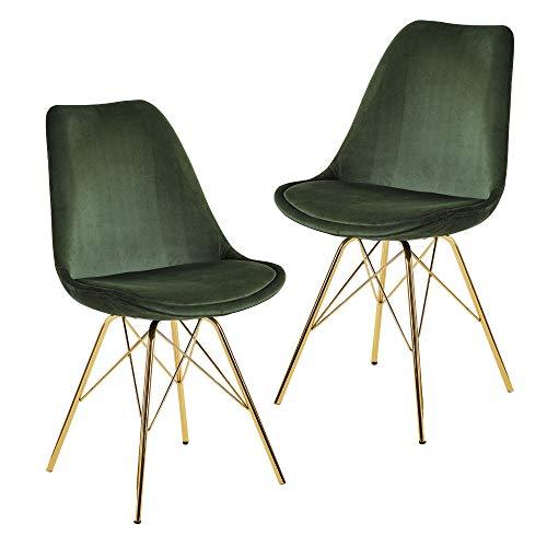 FineBuy Esszimmerstuhl 2er Set Samt Grün Küchenstuhl mit goldenen Beinen | Schalenstuhl Skandinavisches Design | Polsterstuhl mit Stoffbezug | Stuhl Gepolstert
