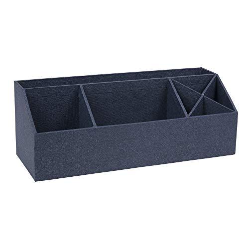 Bigso Box of Sweden Schreibtisch Organizer mit 4 Fächern – Ordnungssystem für Zettel, Büroklammern, Stifte usw. – Sortierkasten aus Faserplatte und Papier – Blau