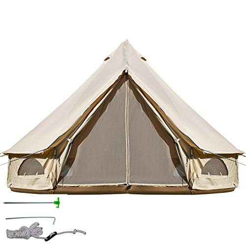 BuoQua Bell Tent 8-10 Persons Canvas Tent with Stove Hole Cotton Canvas Tents 5M Yurt Tent for...