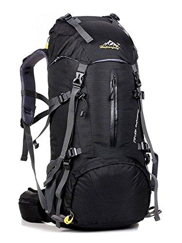 Minetom 50L Zaino Ciclismo Campeggio Viaggio Pack Backpack Bag Impermeabile Trekking Escursionismo Montagna Alpinismo Nero One Size(30*20*60 Cm)