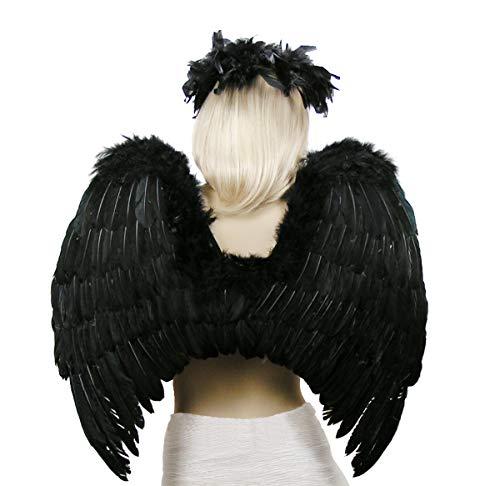 FashionWings (TM Black Fallen Angel Costume Feather Wings Halo Mask Set