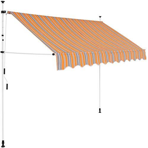 EBTOOLS Einziehbar Markise 250 cm Manuell Balkonmarkise Sonnenschutz Garten Terrassenüberdachung, Höhe und Winkel eingestellt, Gelbe und Blaue Streifen