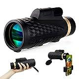 trounistro Telescopio monocular 16 x 50 HD multicapa, monocular BAK4 prisma con adaptador para smartphone para observación de aves, senderismo, turismo, conciertos, juego de pelotas.