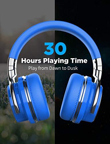 COWINE7Pro[2018年アップグレード]アクティブノイズキャンセリングヘッドフォンBluetoothヘッドフォンマイク付きHi-Fiディープバスワイヤレスヘッドフォンオーバーイヤー30H再生時間旅行仕事TVコンピューター携帯電話-ブルー
