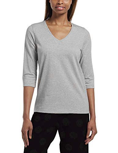 Hue Women's 3/4 Sleeve V-Neck Sleep Tee, Medium Grey Heather, Extra Large