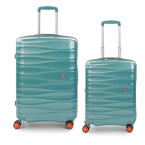 RONCATO Stellar - Juego de 2 maletas rígidas expandibles (medio + cabina) menta