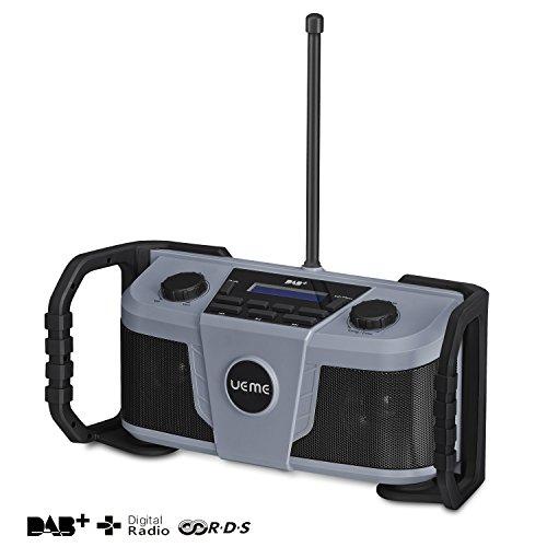 UEME Baustellenradio DAB+ DAB FM Radio, Digitalradio mit Bluetooth und Wecker und Dimmer, Robustes DAB Plus Radios (Grau-Schwarz)