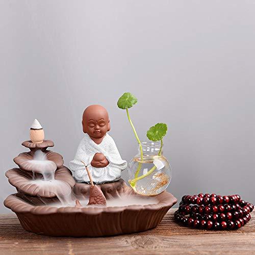 OOOO Reflowing wierookbrander keramiek Zen monnik pak met hydroponic vaas conische wierookbrander
