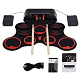 BESPORTBLE Portable Electronic Drum Set, Roll Up Midi Drum Practice Pads with Built-in Dual Speakers, Drum Pedals and Drum Sticks for Beginner and Child