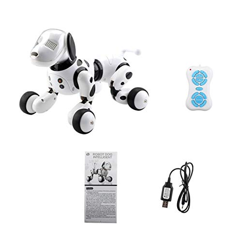DDyna Robot Dog, Robot Dog Electronic Pet Perro Inteligente Robot de Juguete 2.4G Smart Wireless Talking Remote Control Kids Gift For Birthday (Negro-Blanco)