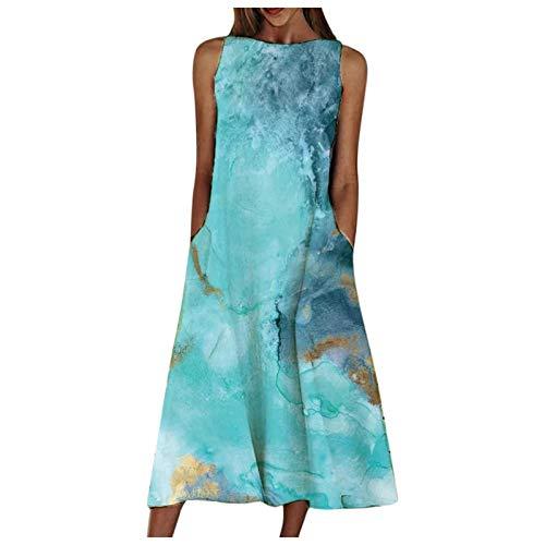 L9WEI sukienka na czas wolny z kieszeniami, luźna sukienka na imprezę, letnia sukienka, bez rękawów, elegancka sukienka wieczorowa, plus size, długa sukienka letnia