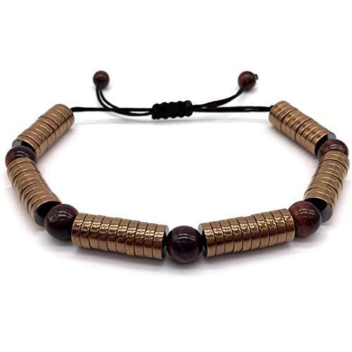 CHCO Pulsera para hombre con micro pavé negro de circonio cúbico, tubos largos trenzados, macramé, pulseras y brazaletes, joyería de regalo para hombres