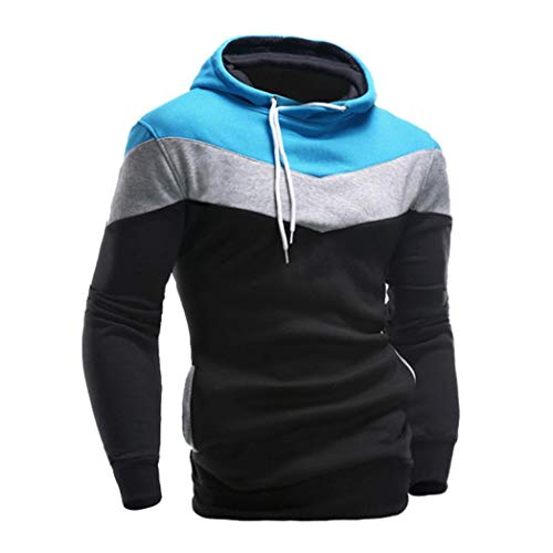 IMJONO Männer Retro Langarm-Kapuzenpullover mit Kapuze Sweatshirt Tops Jacke Mantel Outwear (EU-46/CN-L,Schwarz)
