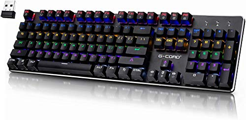 Wireless Gaming Keyboard Mechanical, G-Cord Wired Keyboard LED Backlit, 104 Keys Full Size, Aluminum Top Frame