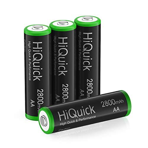 HiQuick Mignon AA Akku 2800mAh - NI-MH wiederaufladbare Batterien 1,200 Zyklen, geringe Selbstentladung - 1,2V AA Batterien 4 Stück