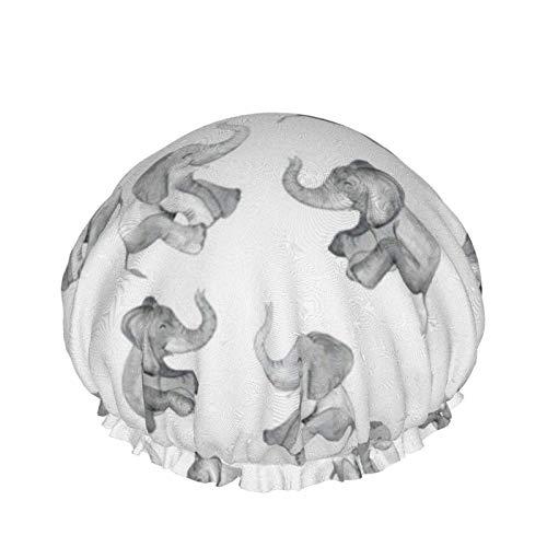 Gorro de ducha reutilizable, con doble capa exterior impermeable para todas las longitudes de pelo (elefantes risas en blanco)