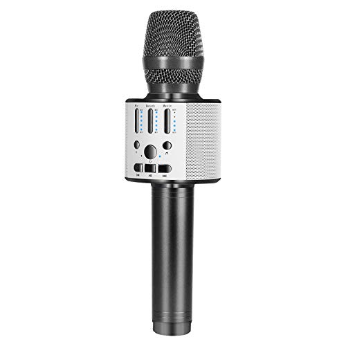 BONAOK Bluetooth Wireless Karaoke Microphone, Portable Handheld Rechargeable Karaoke Machine Speaker with Stereo Sound Christmas Home Birthday Party for All iPhone/Android/PC(Space Gray)