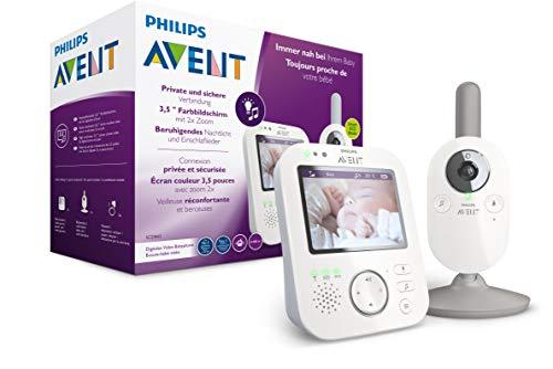 Philips AVENT SCD843/26 - Vigilabebés con vídeo (Pantalla a Color de 3,5 Pulgadas, Modo ecológico, función de interfono, luz Nocturna), Color Blanco y Gris