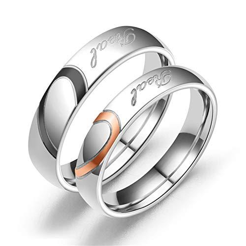 Bishilin 2Pcs Edelstahlringe für Ihn und Sie Ehering Paarepreise Puzzle Herz Love Rund 4 MM 6 MM Verlobungsringe Paar Silber Damen Gr.70 (22.3) + Herren Gr.62 (19.7)