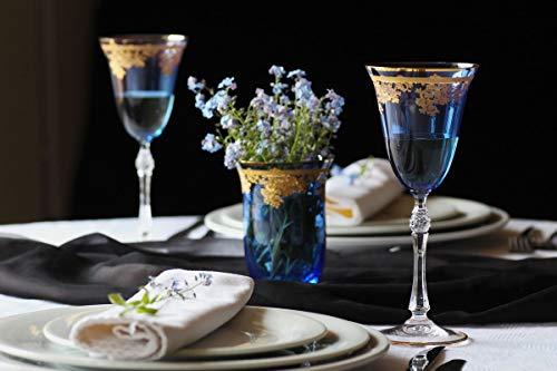 Casa Padrino Luxus Barock Weinglas 6er Set Hellblau/Gold Ø 9 x H. 21,5 cm - Handgefertigte gravierte und handbemalte Weingläser - Hotel & Restaurant Accessoires - Luxus Qualität