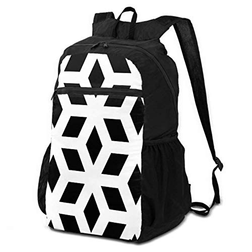 JOCHUAN Travel Daypacks Black White Diamond Shape Ornament Packable Daypack Backpack Daypacks for Travel Women Lightweight Waterproof for Men & Womentravel Camping Outdoor