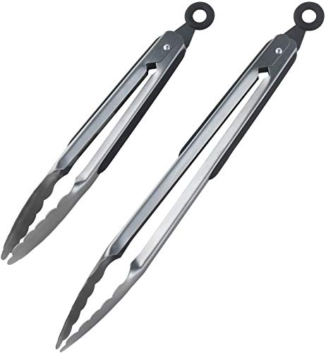 Find Discount Premium Set of 12-inch and 9-inch Stainless-Steel Locking Kitchen Tongs, Set of 2 - St...