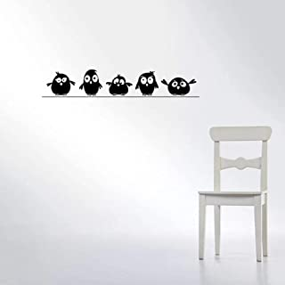 Lovely Five Birdies Wall Sticker Kids Rooms Living Room Background Decoration Mural Art Decals Cute Bird Stickers for Home...