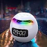 Altoparlante Bluetooth, sveglia con altoparlante portatile con radio FM, display a LED, audio HD ad alto volume e altoparlante wireless per bassi profondi, riduzione del rumore, lampade colorate