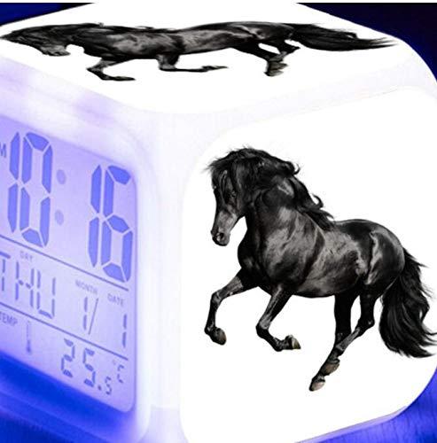 shiyueNB Reloj Despertador Digital LED Luminoso de 7 Colores Caballo Corriendo Reloj Despertador para niños Regalo de cumpleaños Reloj Despertador Vintage Multifuncional Blanco