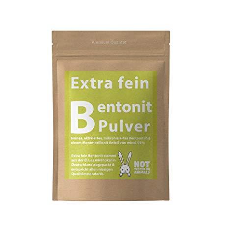 Vital Vegan Extrafein Bentonit Pulver 500-2500g Mineralerde Tonerde - Black Mask Gesichtsmaske Premium Qualität mit 95% Montmorillonit - Pure Cleanse (1000g)