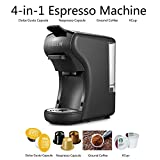 HiBREW 4-in-1 Multi-Function Espresso Coffee Maker Dolce Gusto Machine Compatible with Nespresso Capsule, Dolce Gusto Capsule, Ground Coffee, Kcup, Italian 19 Bar High Pressure Pump, Buttons for Espresso and Lungo, 1450W (Black)