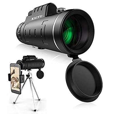 Monocular Telescope, 40X60 High Power HD Monocular with Smartphone Holder & Tripod - [Upgrade] Waterproof Monocular with Durable and Clear FMC BAK4 Prism Dual Focus for Bird Watching, Camping, Hiking from Feeke