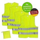 Huckleberry Home® Premium Warnweste KFZ 4er Set mit Tasche - EN ISO 20471 - Neon Gelb reflektierende Auto Sicherheitsweste für Pannen – Für Erwachsene