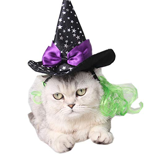 Muzhili3 Halloween Pet Cat Dog Spider Web Stampa Strega Cappello Papillon Party Prop Cosplay cap, Poliestere, 1#