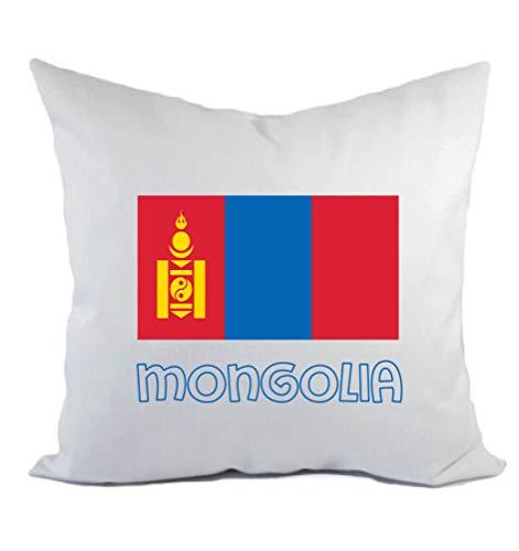 Typolitografie Ghisleri kussen wit Mongolie met vlag kussensloop en vulling 40 x 40 cm van polyester