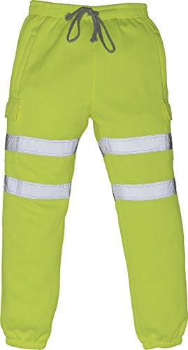 Yoko - Pantaloni da jogging da uomo, comodi, ad alta visibilità, riflettenti Giallo L