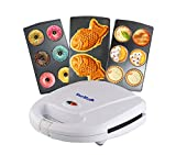 Mini-Donuts Maker, Mini-Pie and Quiche Maker, Taiyaki Maker – 3 in 1 Three Slices Detachable Dessert Maker by StarBlue, Wonderfully non-stick Plates, Cool-Touch Dessert Factory – White AC 110-120V 50/60Hz 700-800W
