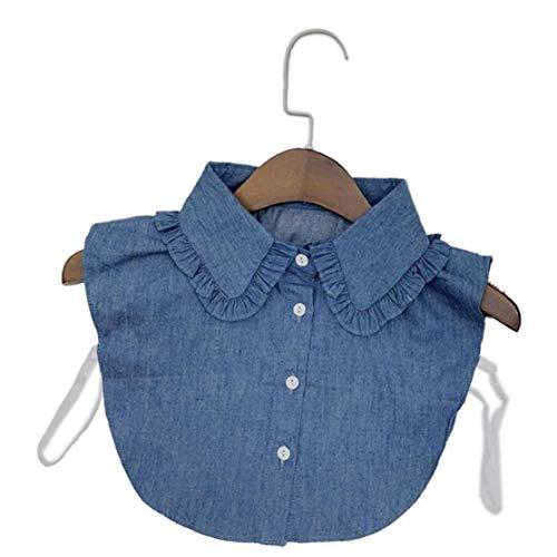 Collar Falso Desmontable Dril De Algodón De Cuello De La Blusa La Mitad De Collar De Las Camisas...